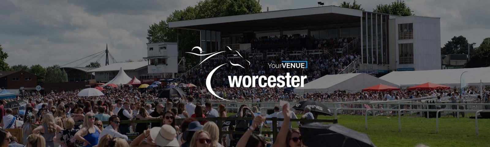 A view of the Grandstand at Worcester Racecourse.