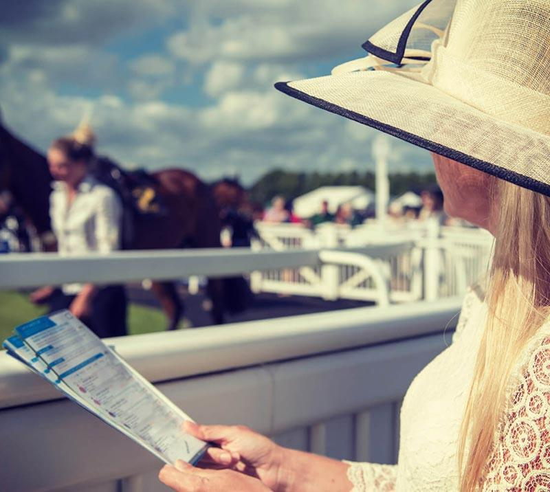 Female racegoer holding a racecard in her hands, watching a horse being walked in the parade ring at Worcester Racecourse.
